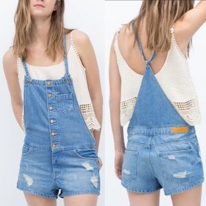ZARA TRF Denim Vintage Collection Overall Shorts-S